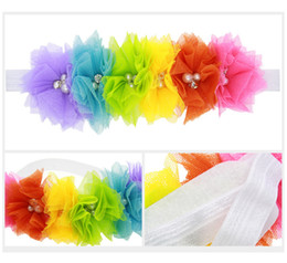 "rainbow colors Bright Candy Rainbow Tulle 2"" Twirl Pearl & Rhinestone Flowers - Wedding Match Colors - Hair Accessory Supply"