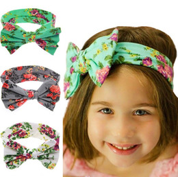 New Baby Kids Bohemia Bow Headbands Girls Children Flower Imprint Big Bowknot Hairbands Headwear for Kids Hair Accessories