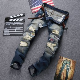 Personality Badge Patchwork Jeans Men Ripped Jeans Scratched Biker Jeans Hole Denim Straight Slim hip hop 1477