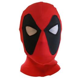 Traje de cuero completo en Línea-Venta al por mayor-Halloween cosplay PU cuero Deadpool máscaras superhéroe traje de balaclava X-men sombreros sombrero tapa de la parte del partido cuello máscara facial completa