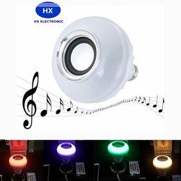 Hot Wireless Bluetooth 6W LED Speaker Bulb Audio Speaker LED Music Playing Lighting With 24 Keys E27 Remote Control 20pcs