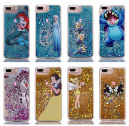 Wholesale Liquid Bling Glitter Hard PC Case For Iphone Plus S SE S Stitch Frozen Mickey Mouse Snow White Quicksand Cartoon Sparkle Cover Skin