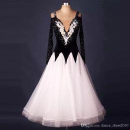 New Ballroom Dance Dress Modern Waltz Tango Standard Black Rhinestone Dance Dress Size S-XXL Custom A119