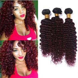 Acheter en ligne 24 profonds faisceaux de cheveux bouclés-Dark Roots 1B 99J Ombre Deep Wave Cheveux Humains Vierge Brésilienne Deep Curly 3 Bundles 1B Burgundy Ombre Malaisienne Hair Weave Extensions