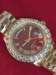 Wholesale Hot Luxury Big diamond series Fully automatic machine gold strap Red face men s watch dial Fully Automatic watches