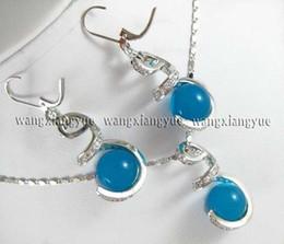 12mm Apatite Bead Earrings & Necklace Pendant Set AAA