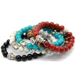 Hot Sale 10pcs lot Exquisite Buddha Bracelets With Natural Red black Agate, Yellow Tiger Eye, White and Turqoise Stone