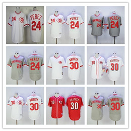 Mens Seattle Mariners 24 Ken Griffey Jr green cream Cincinnati Reds 30 white Red 2016 hall of fame cooperstown throwback stitched jerseys