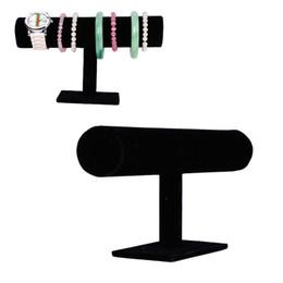 2016 Joyero Organizador Livraison gratuite Black Velvet Bracelet Bracelet Chaîne T-Bar Barre Rack Bijoux Stand Holder Porps Box En gros à partir de barres autoportantes fabricateur