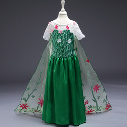 Enfants Frozen Fever Robes Girl Cloak Elsa Anna princesse Robes de soirée Lace Yarn vert Flower Dance Dress Frozen Costume Cosplay Cartoon F440 à partir de anna manteau gelé fabricateur
