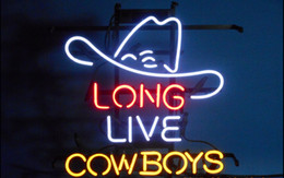 Promotion panneaux de cowboy Fashion Handcraft LONG LIVE COWBOYS Real Glass Beer Bar Pub Affichage néon sign 19x15 !!! Meilleure offre!