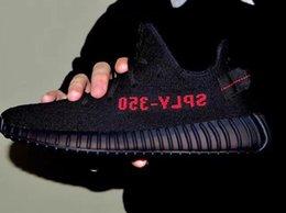 Wholesale Kanye design Real sample boost sply v2 Black red fashion sneakers women men shoes
