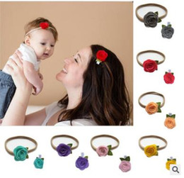 Wholesale Baby headdress flower rose Baby hair hoop non trace nylon elastic hair band serging children hairpin and suits