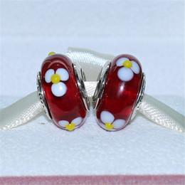 Handmade Lampwork 925 Sterling Silver Red Daisy Murano Glass Charm Bead Fits European Pandora Jewelry Bracelets