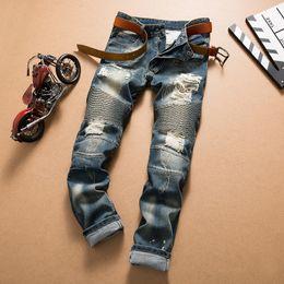 Venta caliente de la motocicleta en Línea-Los pantalones elásticos de los pantalones vaqueros del motorista de la motocicleta del agujero de los hombres de los pantalones cortos flacos flacos flacos del dril de algodón de los hombres 2016 para los hombres Streetwear