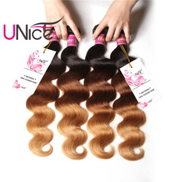 UNice Hair Brazilian Ombre Body Wave Hair Weaves Virgin 3Bundles T1B 4 27 4 Bundles 16-26 inch Human Hair Extensions Remy Ombre Bundle