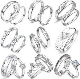 12 Styles Variety Opening Crystal Couple Rings 30% 925 Sterling Silver 3 layer White Gold plating Austrian Zircon Rings Christmas Gift 12pai