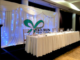 1pcs 10ft*20ft White Color Wedding Backdrop Curtain Include The LED String Light