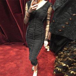 2017 vestidos de verano de la manga medio Moda Mujer Brand pista de encaje vestidos 2017 primavera verano estilo diseñador de manga larga malla cuello en V medio largo Bodycon vestidos de cóctel vestidos de verano de la manga medio en venta