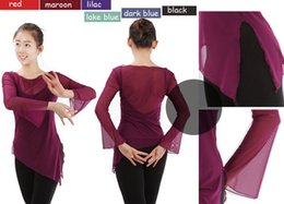 New Lady Women Sexy semi-transparent Black Blue Purple Lilac Maroon Long Sleeve Gym Ballet Dance Costume Smock Loose Tops