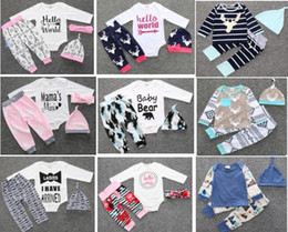 DHL free!12 sets lot(mix style and size) 2017 New style top quality baby clothing set Long sleeve 3pcs 4pcs suit baby clothing 100% cotton