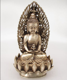 Wholesale Antique antiques Collectible Decorated Old Handwork Tibet Silver Carved Buddha Sitting on a Lotus with Screen Statue Sculpture