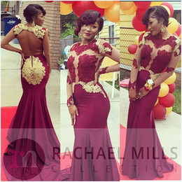Burgundy African Evening Gowns Sleeves 2017 Mermaid Style Sheer Red Carpet Celebrity Dress Special Occasion Long Prom Gowns