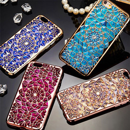 Wholesale Fashion Electroplating Diamond Crystal Sun Flower Phone Case for iPhone 7 7 Plus Soft TPU Phone Cover For iPhone 6 6 Plus