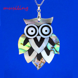 Wholesale musiling Jewelry Owl Turtles Pendants Abalone Shell Splicing Pendant Necklace Chain Accessories Silver Plated European Fashion Jewelry