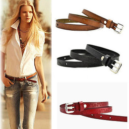 Promotion femmes boucles de ceinture gros Vente en gros - 2016 Retro Women's Embossed Western Bonded Leather Print Facile All Fit Pin Buckle Belt WHolesale