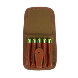 Wholesale Tourbon Hunting Gun Accessory Tactical Ammo Holder Canvas and Leather Cartridges Pouch Snap press closure Rifle Bullet Carrier