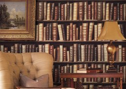 Wholesale 3D Classical Bookcase Wallpaper Roll Bookshelf Wall Paper Mural Restaurant Hotel Bar Book Store Personality Background Covering Home Decor