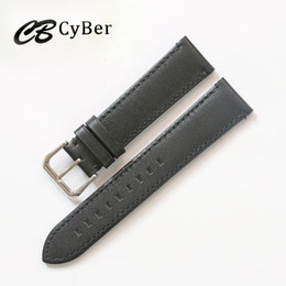 Cbcyber watch bands Man 20 22mm Handmade Leather Brown Black VINTAGE Wrist Watch Band Strap Belt Silver Polished Buckle