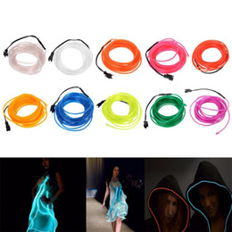 Edison2011 1m2m3m5m Flexible Neon Light 3V Glow EL Salon Wire Flat Led Strip For Car Interior Lights With Controller Free Shipping