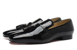 NEW 2017 LUXURY DESIGNER red bottom loafers for men, Dandelion Tassel Flat BLACK PATENT LEATHER Wedding Shoes Dress Shoes