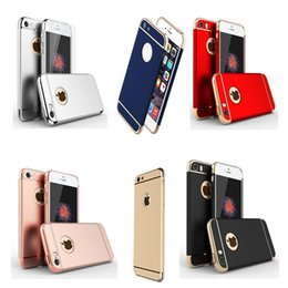 3 In 1 Ultra Thin Hard Plastic Case Coated Non Slip Matte Surface Hybrid Back Cover Electroplate Frame for iPhone 7plus 6s 5se Samsung S6 S7