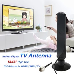 Wholesale w16YG Indoor Digital TV Antenna dBi High Gain Full HD p VHF UHF DVB T Aerial F Male Connector IEC Connector for DTV TV V1907