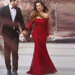 Descuento alfombra roja del hombro fuera Vestidos de noche largos rojos de hombro mangas largas de encaje vestido de fiesta de sirena vestidos de fiesta de la alfombra roja formal vestidos de noche WL31