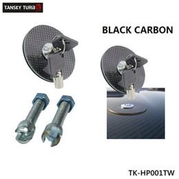 Tansky-(BLACK Carbon Fiber)Flush Mount Hood Lock w  Key Variable Mount Fit for Most Cars TK-HP001TW