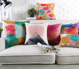 Wholesale Fantasy Colour Paintings Geometric Art Cushion Covers Southeast Asian Fruit Watermelon Pillow Cover Decorative Sofa Linen Cotton Pillow Case