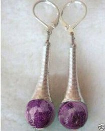 Long Engaging purple jade Tibet Silver dangle earring