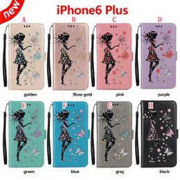 Glitter Girl Strap Wallet Leather Pouch Case For Iphone 8 7 Plus 6 6S 5S Huawei P9 P10 P8 LITE 2017 Y3 Y5 Y6 II Flower Butterfly Stand Skin