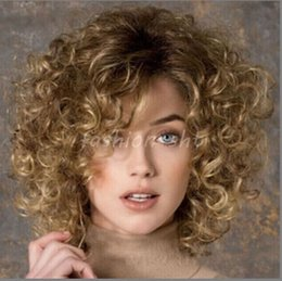 100% New High Quality Fashion Picture full lace wigs Fashion Women's Short Brown Blonde Mixed Curly Wave Full Wigs Cosplay Wigs+Cap