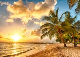 Descuento fondos de verano SUSU 7x5ft Summer Beach Fondos fotográficos Blanco nubes puesta de sol telón de fondo arrugas gratis para los niños Foto Video