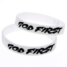 Wholesale 100PCS Lot God First Silicone Bracelet White Bangle Great For Daily Reminder By Wearing This Wristband