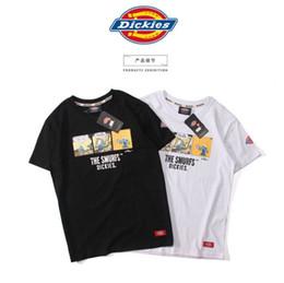 2017 new summer DICKIES Smurfs print t shirt men women short sleeve t-shirt hip hop streetwear flame palace thrasher tshirt