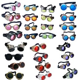 Wholesale Steampunk Antique Brass Silver Copper Black Cyber Goggles Colored Lens Welding Goth Cosplay Party Vintage Gothic Safety Goggles Glasses