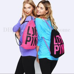 Wholesale Women Victoria Pink Backpack LOVE PINK School Bags Pink Letter Storage Bags Fashion Canvas VS Organizer Shopping Bags Drawstring Bag B1961