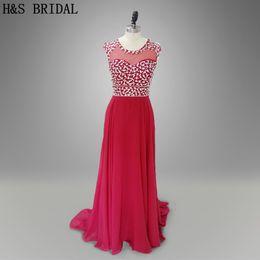 2017 Evening Dresses Dark Red Long Beaded Sheer Back Chiffon Evening Formal Gowns Women Elegant Party Dresses 006