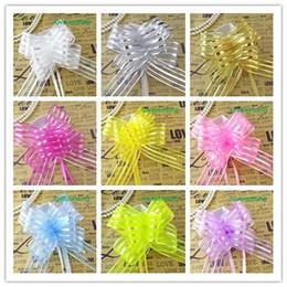 12 Colors--50pcs 5cm Large Size Lavender Color Organza Pull Bows Wedding Car Decor Pull Flower Ribbons Wedding Shower Favors Supplies